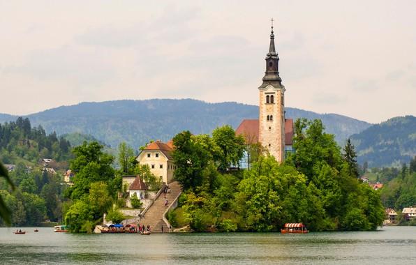 Картинка зелень, лес, деревья, горы, природа, озеро, остров, башня, лодки, причал, лестница, церковь, Словения, туристы, Bled