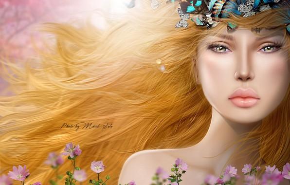 Картинка взгляд, девушка, бабочки, цветы