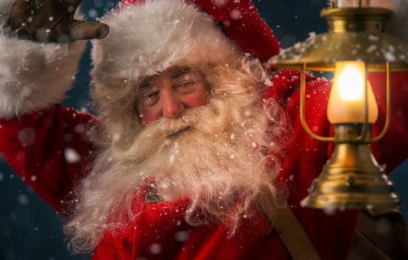 Картинка зима, снег, Новый Год, Рождество, Санта Клаус, happy, Дед Мороз, Christmas, winter, snow, Xmas, decoration, ...