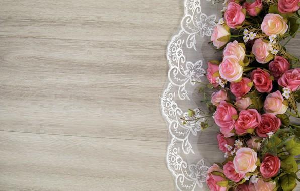 Картинка цветы, розы, wood, pink, flowers, roses