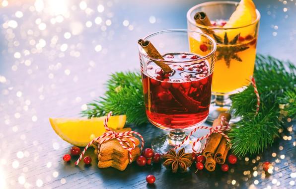 Картинка праздник, печенье, Новый год, корица, композиция, глинтвейн