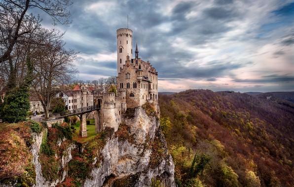 Картинка осень, пейзаж, горы, природа, замок, Германия, Germany, Лихтенштайн, Lichtenstein