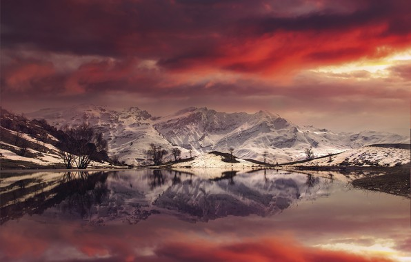 Картинка Landscape, Mountain, reflection, sunlight, Fire Pond