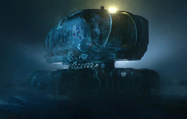Картинка Ночь, Будущее, Art, Техника, science fiction, Фантастика, digital art, Illustration, Concept Art, Транспорт, scifi, Transport …