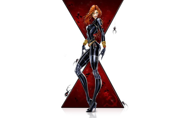 Картинка girl, fantasy, minimalism, blue eyes, Marvel, comics, redhead, digital art, artwork, suit, Black Widow, superhero, …