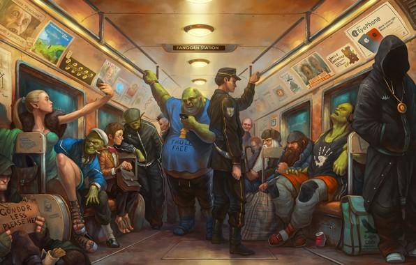Картинка метро, эльф, поезд, арт, Голлум, Властелин колец, гном, хоббит, орк, тролль, Гэндальф, Lord of the …