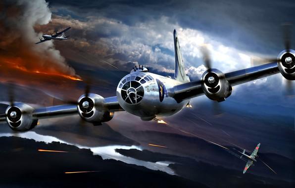 Картинка пожар, дым, театр, Boeing, бомбардировщик, Superfortress, японский, истребитель-перехватчик, Американский, тяжёлый, B-29, Второй Мировой войны, стратегическая …