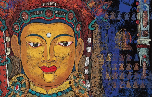 Картинка живопись, религия, будда, икона, верховный бог, малые божества, тибетская мифология