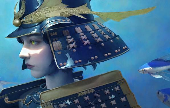 Картинка girl, fantasy, green eyes, digital art, fish, artwork, Samurai, warrior, fantasy art, helmet, warrior girl, …