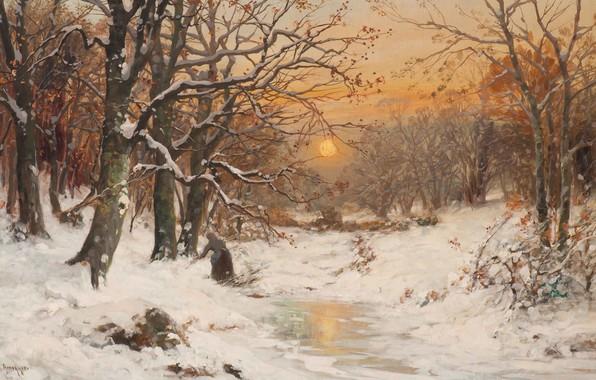 Картинка Alois Arnegger, Austrian painter, австрийский живописец, oil on canvas, Алоис Арнеггер, A woman gathering wood …
