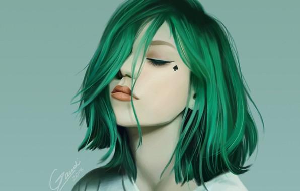 Картинка лицо, стрижка, зеленые волосы, челка, закрытые глаза, портрет девушки