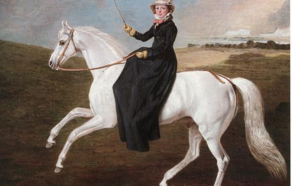 Картинка белый конь, цилиндр шляпа, девушка всадник, верхом на лошади, BMarshall
