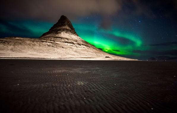 Картинка ночь, сияние, гора