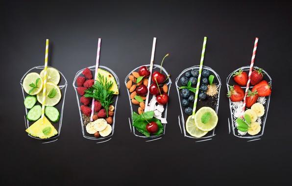 Картинка ягоды, фон, черный, фрукты, орехи, цитрусы, черешня, смузи