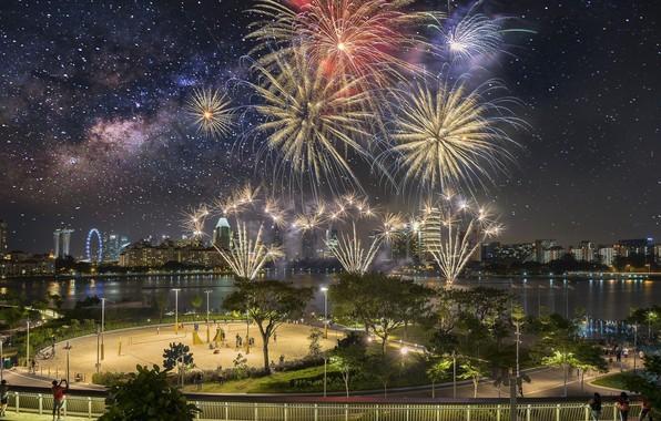 Картинка ночь, город, салют, панорама, Сингапур
