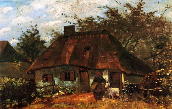 Картинка бабушка, хижина, Vincent van Gogh, Cottage, and Woman with Goat