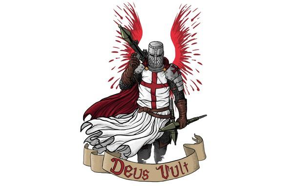 Картинка крылья, арт, рыцарь, ракетница, крестоносец, снаряды, Deus Vult