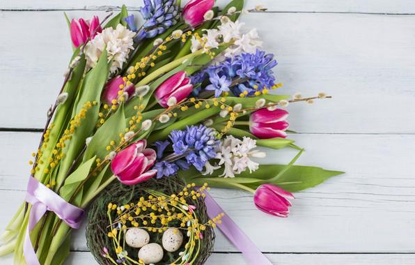 Картинка цветы, букет, пасха, тюльпаны, pink, flowers, tulips, purple, eggs, easter, гиацинты, hyacinth