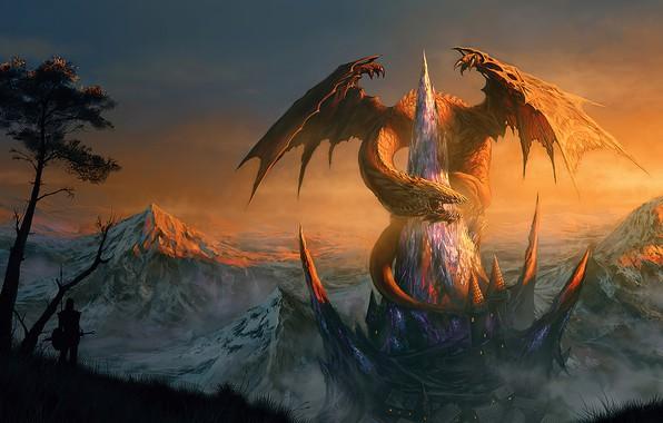 Картинка fantasy, Dragon, tower, mountain, snow, castle, digital art, artwork, warrior, fantasy art, creature, shilouette