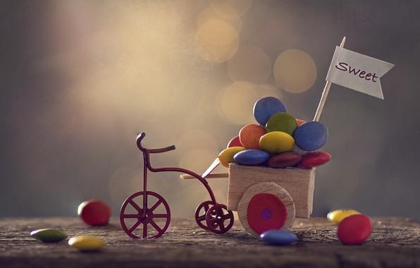 Картинка велосипед, конфеты, тележка, Sweet
