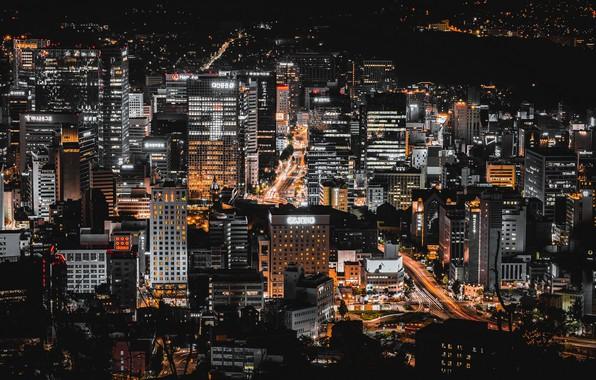 Картинка ночь, город, Сеул