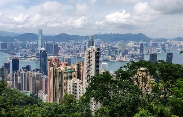 Картинка sky, china, building, vacation, hong kong, bay, travel