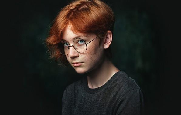 Картинка девушка, милая, очки, веснушки, рыжая, Наталья Меньтюгова