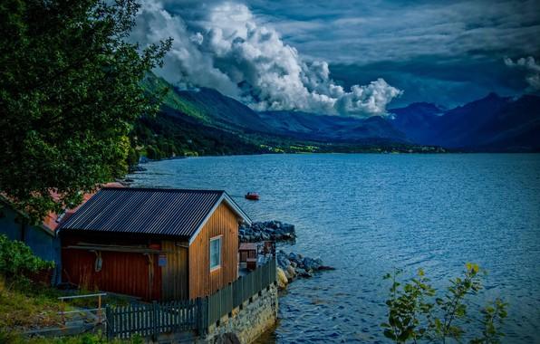 Картинка озеро, фото, гора, Norway, Isfjorden