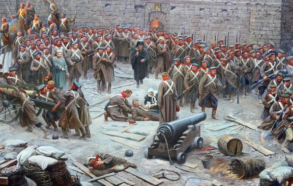Картинка картина, панорама, живопись, осада, бастион, оборона Севастополя, 1854-1855