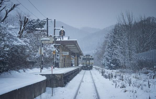 Картинка Зима, Япония, Станция, Поезд, Железная дорога, Пейзаж