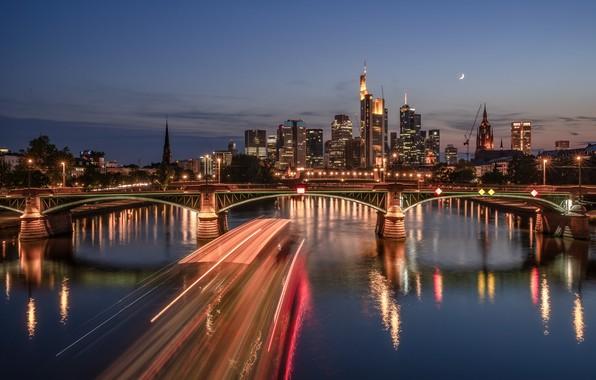 Картинка мост, огни, река, вечер, Германия, skyline, Frankfurt