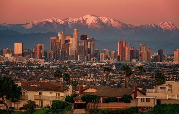 Картинка закат, горы, дома, панорама, США, Лос-Анджелес