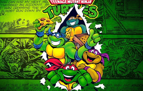 Картинка пицца, донателло, микеланджело, turtles, TMNT, комикс, леонардо, черепашки ниндзя, рафаэль