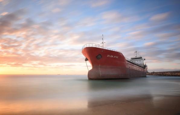 Картинка море, берег, корабль