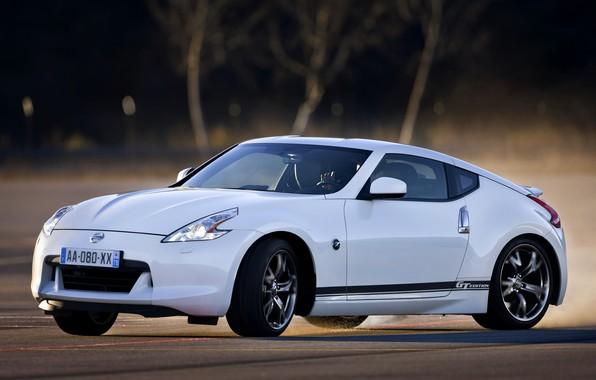 Картинка белый, занос, Nissan, 2011, 370Z, GT Edition