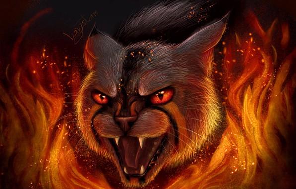 Картинка страх, огонь, шерсть, искры, пасть, клыки, оскал, ужас, оборотень, красные глаза, дикий кот, языки пламени, …