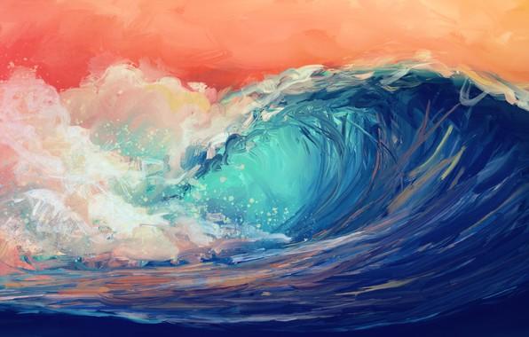 Картинка waves, sky, water, art, digital art, artwork, Sea, orange sky
