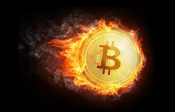 Картинка огонь, пламя, дым, fire, монета, fon, coin, bitcoin, биткоин