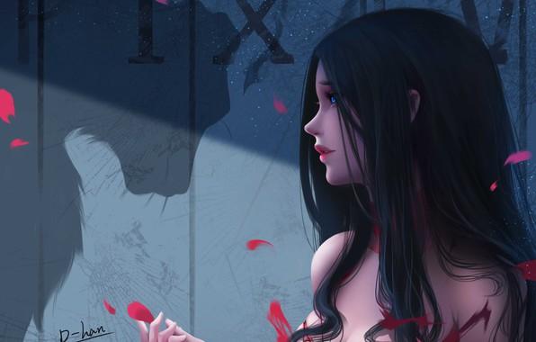 Картинка girl, fantasy, blue eyes, brunette, artist, digital art, artwork, fantasy art, shadow, black hair, fantasy …