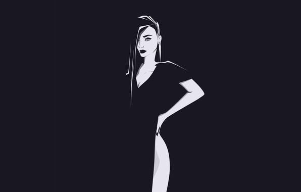 Картинка Девушка, Минимализм, Рисунок, Girl, Фон, Beautiful, Красивая, Background, Minimalism, Black and White, Dress, Черно - …