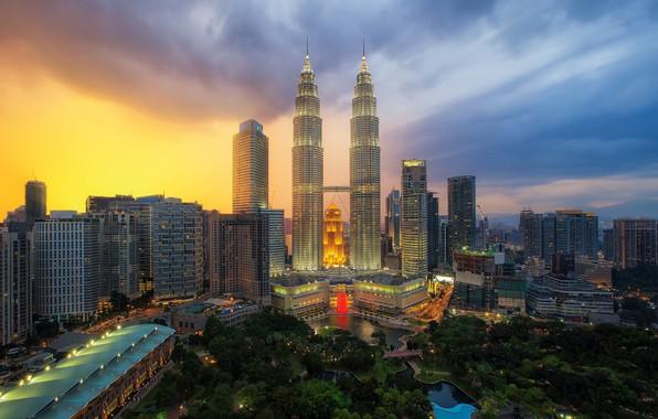 Картинка город, рассвет, здания, утро, Малайзия, Куала Лумпур