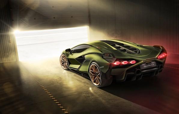 Картинка машина, Lamborghini, фонари, суперкар, гибридный, Sián