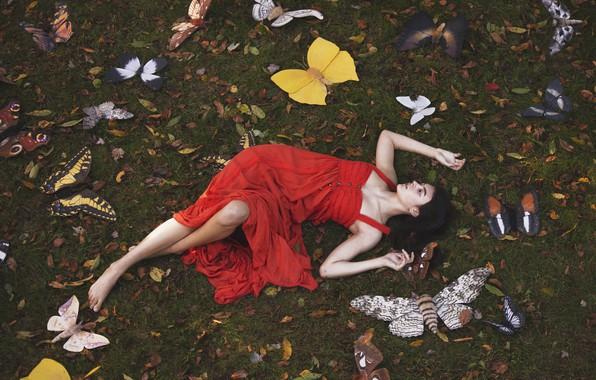 Картинка девушка, бабочки, поза, красное платье