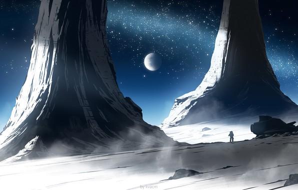 Картинка moon, fantasy, science fiction, stars, spaceship, sci-fi, planet, artist, galaxy, digital art, artwork, fantasy art, …