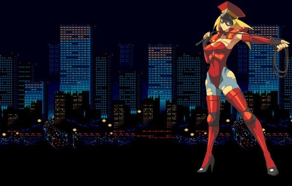 Картинка девушка, city, город, дома, небоскребы, униформа, хлыст, Bare Knuckle, streets of rage