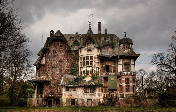 Картинка дом, фон, сумерки