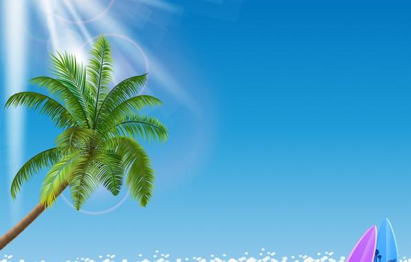 Картинка море, пляж, пальмы