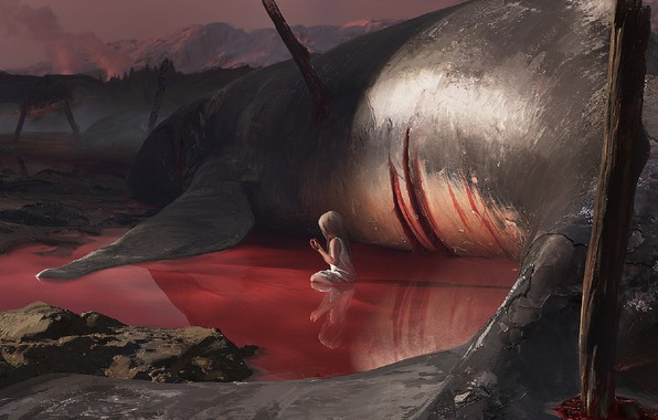 Картинка смерть, безысходность, жертва, убийство, кит, малышка, art, лужа крови, гигантсикий, мрачное место, Ilya Dykov