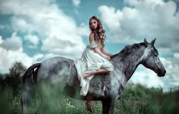 Картинка девушка, конь, лошадь, фотограф, девочка, Мария Липина