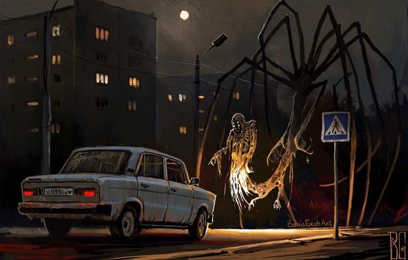 Картинка Ночь, Рисунок, Город, Машина, Демон, Арт, Призрак, Лада, Hello, Жигули, Boris Groh, by Boris Groh